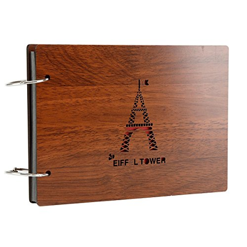 Photo Album Wood Cover Anniversary Scrapbook 2 X 3 inches Memory Book 30 Pages for Baby Boys Love Birthday (Eiffer Tower)