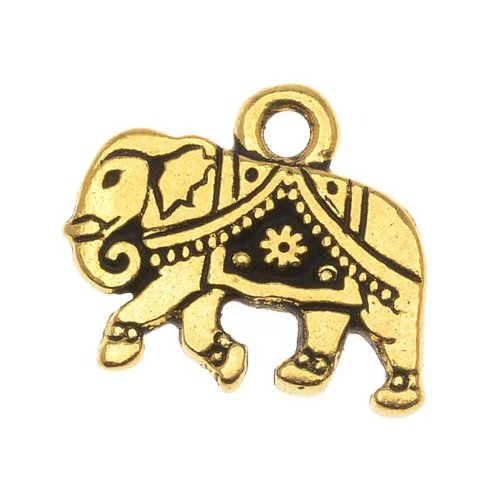 22K Gold Plated Pewter Indian Elephant Charm 12mm (1)