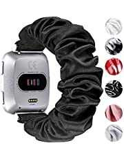 fastgo Scrunchie Bands Compatible with Fitbit Versa/Versa 2/Versa Lite & Special Edition for Women Girls, Breathable Fabric Strap Replacement Scrunchies Wristband Bracelet Accessories (Pure Black)