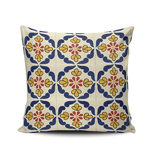 WULIHUA Pillow Covers Mexican Talavera Tile Sofa Modern Pillow Case Decorative Throw Pillow Cases Double Sides Printed Square 18x18 - Peacock Talavera