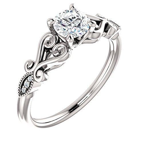 Amazoncom Split Shank Antique Scroll Diamond Engagement Ring 12ct
