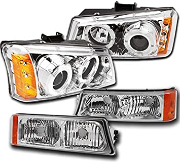 ZMAUTOPARTS Replacement Headlights Bumper Lamps Chrome For 2003-2006 Chevy Silverado//Avalanche