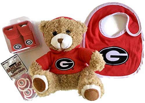(Georgia Bulldogs Baby Gift Set Red Booties - UGA Plush Hoodie Bear - 2 BPA-Free Pacifiers - Bib Bulldawgs Socks)