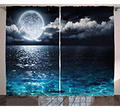 108 W X 63 L Inches Living Room Bedroom Window Drapes 2 Panel Set Petrol Blue Coconut Ambesonne Lotus Curtains Magic Lotus with Bright Reflections Zen Life Spiritual Meditation Yoga Print