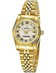 Women Dress Gold-Tone Stainless Steel Dress Analog Quartz Wrist Watch