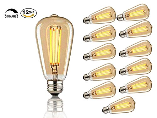 Pack of 12 - Vintage Edison Bulbs, 60w Dimmable Industrial Pendant Filament Light Bulbs with Vintage Antique Style Design for Pendant Lighting, Wall Sconces, Ceiling Fan and Chandeliers