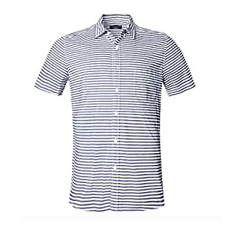 GILBETI Men's Stripe Button Down Collar Short Sleeve Dress Shirt Dark Blue XS