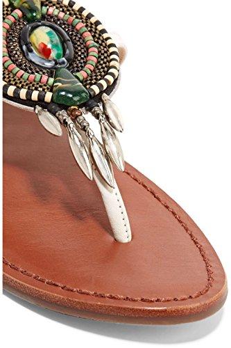 Sandalo Schutz Centi In Pelle Impreziosita Di Bianco Con Lacci Perline