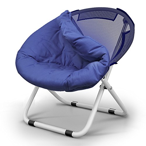 Zcxbhd Moon Lounge Camping Chair with/Without Cup Holder Steel Frame Folding Padded Round & Portable Stable with Carry Bag for Outdoor Activities (Color : Bronze)
