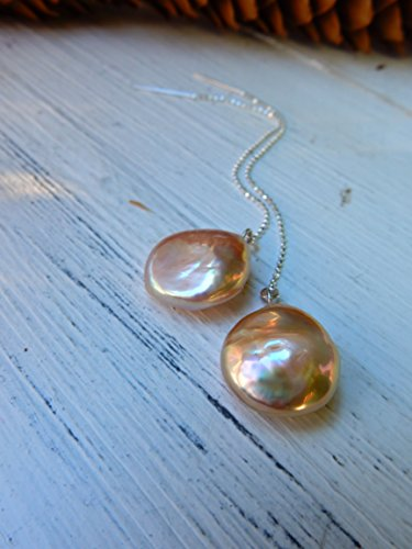 - Pearl Chain Earrings, Silver, Long Earrings, Button Pearl, Champagne, Threader Earrings