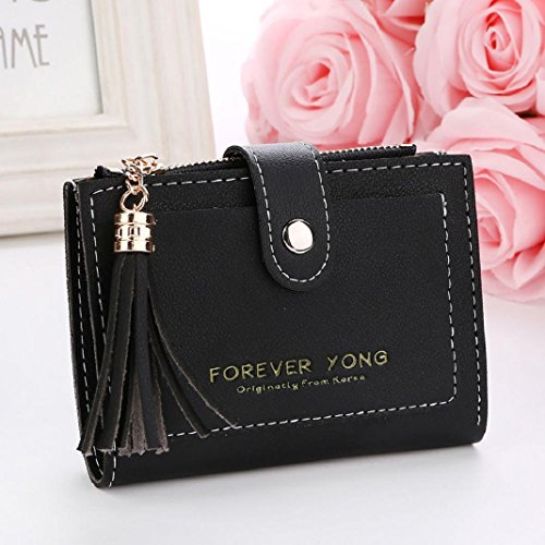 ShenPr Black Handbag Clearance Tassel Letters Coin Short Zipper Card Women Holders Wallet Purse 44r7WPRqZ