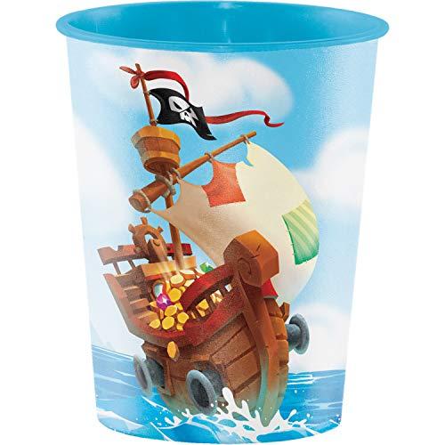 Treasure Island Pirate 16 oz Plastic Cups, 8 ct -