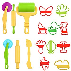 Kare & Kind Set of 16pcs Smart Dough Tools Kit with Models and Molds (Animals, Machines, Foot)