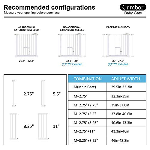Cumbor 37.8. Auto Close Safety Baby Gate, Extra Tall Durable Dog Gate with Door, Easy Walk-Thru Child Gate for The House, Stairs, Doorways & Hallways. Includes 4 Wall Cups & (2) 2.75- Inch Extension