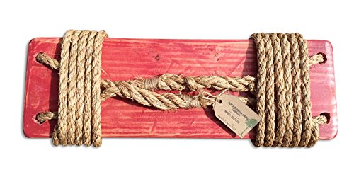Santa Barbara Rustic Tree Swing with 12 Feet Natural Rope, Red (Stand Strait Tree Stand compare prices)