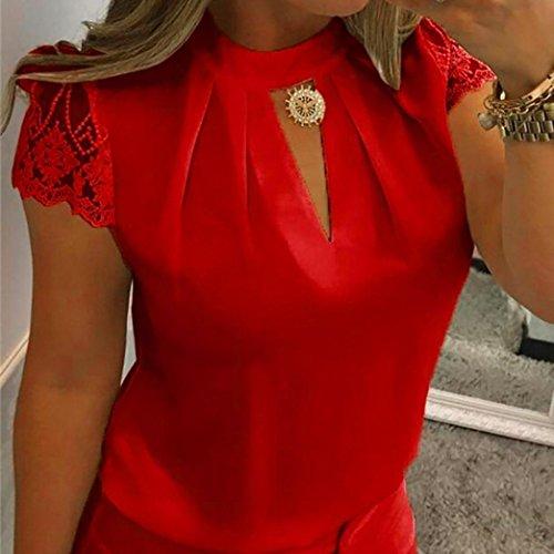 Red Col Femme avec Taille Chemisier Chemise KaloryWee Classique Fleurs Noue zqUSO