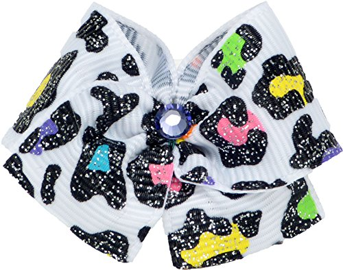 Puppy Kisses Sassy Dog Hair Bow - Metal barrette closure, Made with SWAROVSKI ELEMENTS