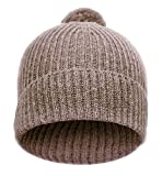 Celtic & Co Womens 100% Cashmere Pom Pom Beanie Hat Made In Great Britain - One Size - Driftwood