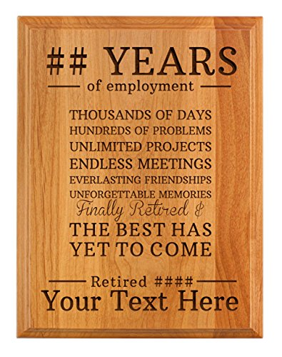 Personalized Retirement Plaque Custom Name & Years The Best Has Yet to Come Retirement Gifts Women Men Retirement Party 7x9 Oak Wood Custom Engraved Plaque Wood