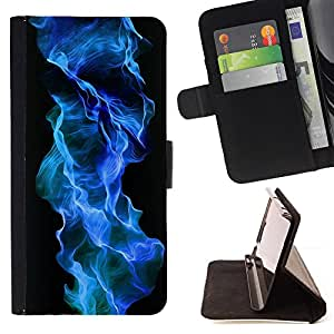 DEVIL CASE - FOR Samsung Galaxy S3 III I9300 - Blue Flame Fire Gas Chemical Element Black - Style PU Leather Case Wallet Flip Stand Flap Closure Cover