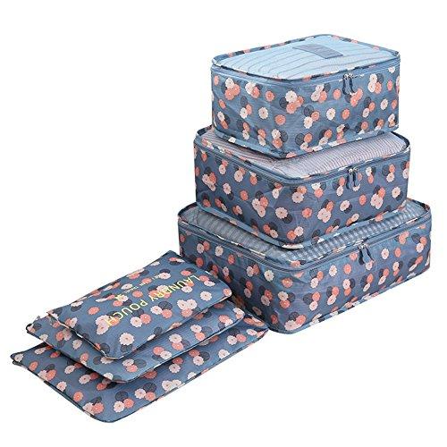 Nylon Ropa Sucia Impermeable Organizador Viaje Material 6 Para Equipaje Maleta Flower Set Blue Bolsa Flower De blue 8BwS7