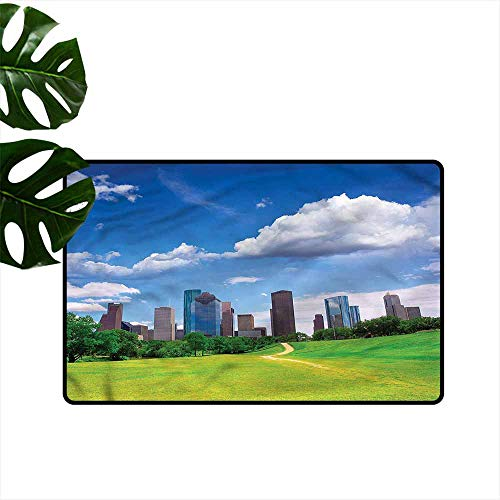 (DONEECKL Waterproof Door mat USA Houston Texas Modern Skyscraper Country Home Decor W24)
