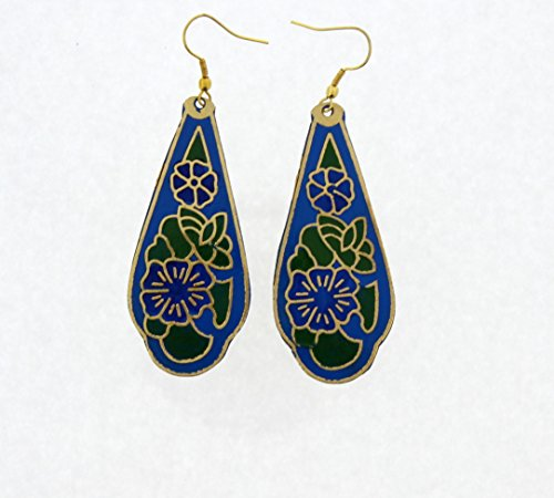 """Price comparison product image Handmade Earrings -Unique Drop Hand Painted Blue Flower Leaf Brass Earrings (approx.2.8"""" drop)"""