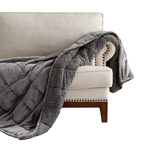 Lofus Sherpa Fleece Weighted Blanket 15 lbs Heavy Blanket with Soft Plush Flannel Reversible Full-Size Super Soft Extra Warm Cozy Fluffy Blanket 48 x 72 inches for Adult Bed Couch, Grey