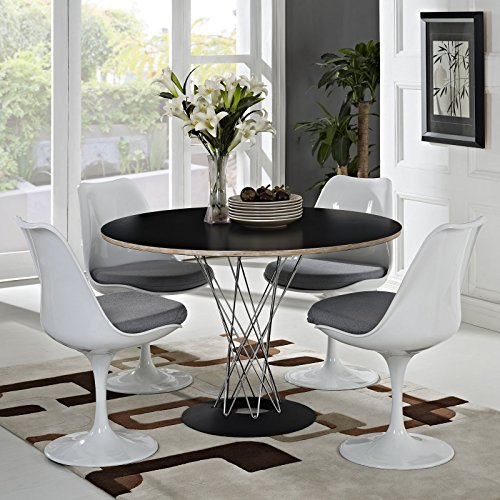 Modway Lippa Modern Dining Four Side Chair Set With Fabric Cushions in Gray by Modway (Image #4)