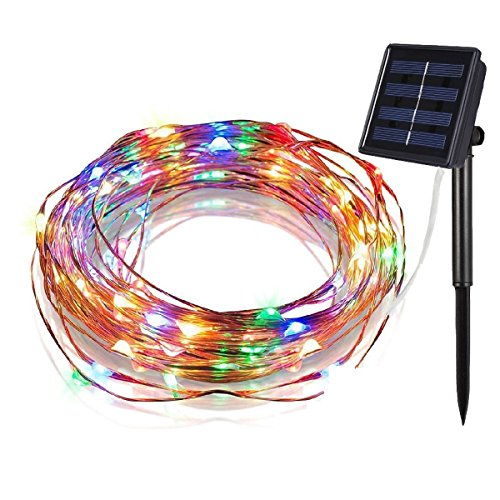 Geefawa Solar String Lights 33ft Fairy Light 100 LED Waterproof 8 Modes Starry Copper Wire String Lights for Indoor Bedroom Party Patio Garden Yard Multi-Color by Geefawa