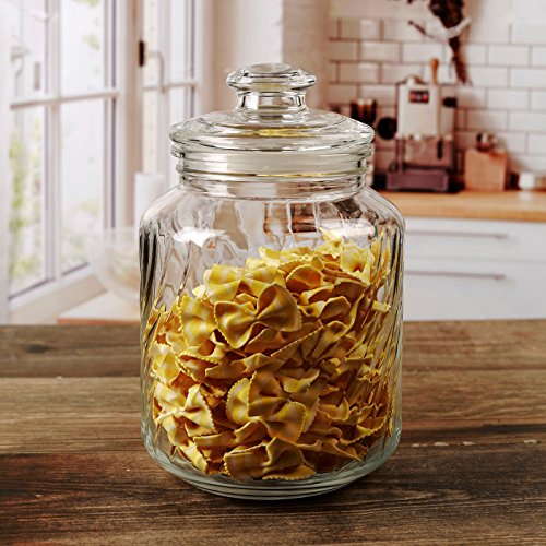 (Circleware 7526 07526 Georgetown Canister With Swirl Design - Glass Lid, 74.4oz, Clear)