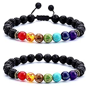 bf12a800639d Men Women Lava Rock 7 Chakras Beads Bracelet 8mm