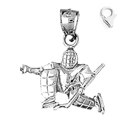 Amazon Com Sterling Silver 25mm 3 D Hockey Goalie 6 5 Charm