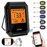 Nobebird Digital Meat Thermometer, BBQ Thermometer Smart Cooking Bluetooth Thermometer with 6 Probe for Smoker Grilling Oven Kitchen,Support iOS & Android