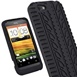 iGadgitz Black Silicone Skin Case Cover with Tire Tread Design for HTC One V Primo T320e Android Smartphone Cell Phone + Screen Protector