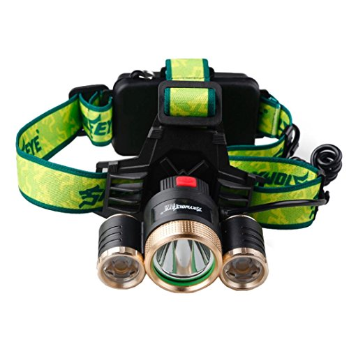 LED Headlamp Paymenow 1500 Lumen CREE XML T62R5 4 Modes Headlight Helmet Light with 2 18650 Rechargeable Batteries Car Charger for Hiking Camping Riding Fishing Hunting Outdoor Activities