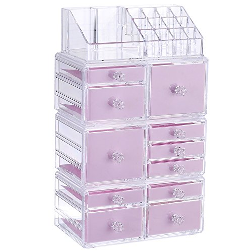 """Younghoo 4 Tier Acrylic Jewelry and Cosmetic Storage Makeup Organizer Boxes Case with 11 Drawers, Create Your Own Specially Designed Makeup Counter –Stackable and Interchangeable- 9.5"""" x 5.4"""" x 15.8"""""""