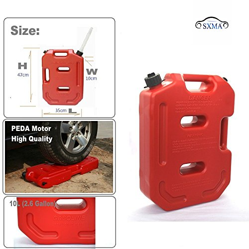 SXMA 10L Fuel Tank Cans Spare 2.6 Gallon Portable Fuel Oil Petrol Diesel Storage Gas Tank Emergency Backup (Pack of 1) Red by SXMA (Image #2)