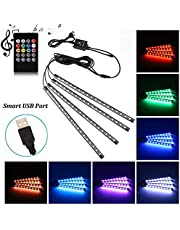 Car LED Strip Light, Uniwit 4 Pcs Multicolor Music Car Interior Atmosphere USB Lights for Car TV Home with Sound Active Function, Wireless Remote Control and Smart USB Port