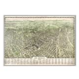 Los Angeles 1909 Historical Print Mounted Framed Wall Map Frame Color: Silver