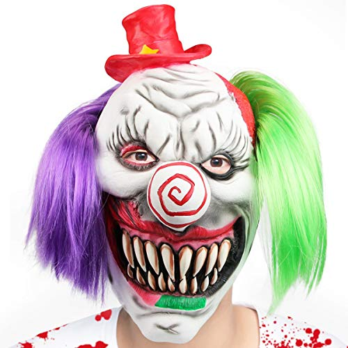 Aiduy Halloween Mask Scary Clown Masks for Adults, Horror Latex Mask Cosplay Creepy Head Mask with Hair for Halloween Costume Party Props