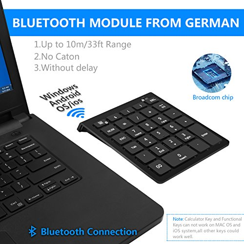 Rytaki Bluetooth Number Pad, Portable Wireless Bluetooth Keypad with Multiple Shortcuts- 28-Key Numeric Keypad Keyboard Extensions for Laptop, Tablets, Surface Pro, Windows, Smartphones and More-Black by Rytaki (Image #3)