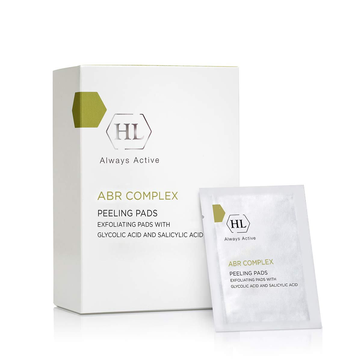HL Holy Land Cosmetics ABR Peeling Pads with Glycolic Acid, Salicylic Acid and Retinol to Smooth and Brighten Skin, 24 ct.