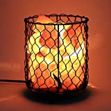Homdox Himalayan Salt Lamp, Natural Air Purifier Salt Rock Light with Dimmable Cord Metal Basket