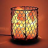 Homdox Himalayan Salt Lamp, Natural Air Purifier Salt Rock Light with Dimmable Cord Metal Basket