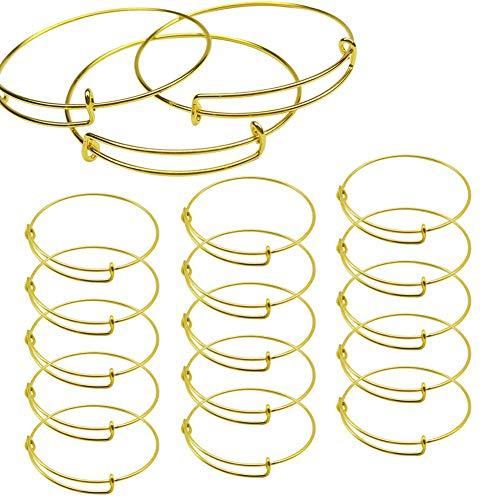 15 PCS Expandable Bangle Bracelet, Adjustable Wire Blank Bracelet Expandable Bangle for DIY Jewelry Making, Gold