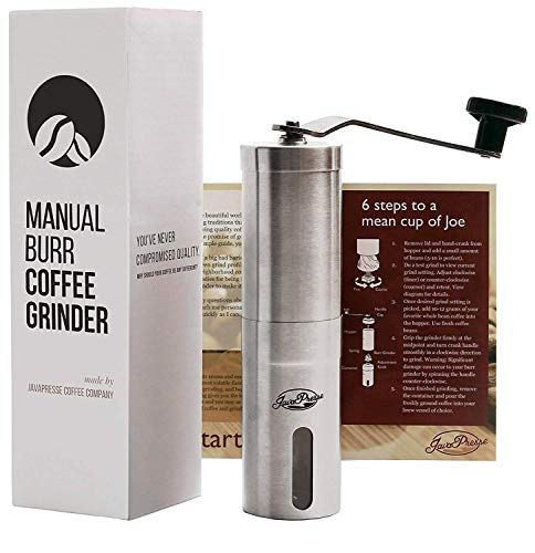 JavaPresse Manual Coffee Grinder, Conical Burr Mill, Brushed Stainless Steel