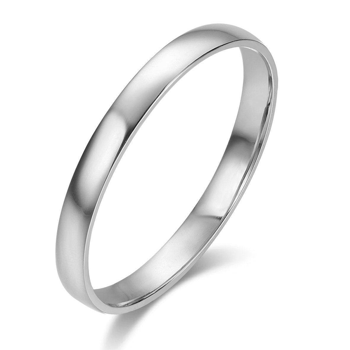 10k Solid Gold 2mm Light Comfort Fit Classic Plain Wedding Band (white-gold, 5.5)