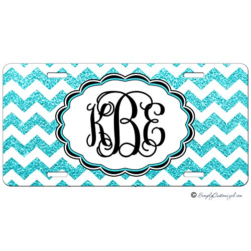(Simply Customized Personalized License Plate Monogram Turquoise Blue Glitter Chevron License Plate Car Auto Tag Aluminum PLP )