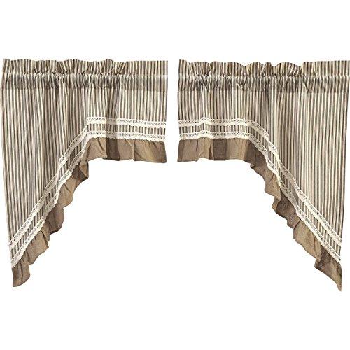 VHC Brands Farmhouse Kitchen Window Curtains - Kendra Stripe White Swag Pair, Black (Valance Black Square)